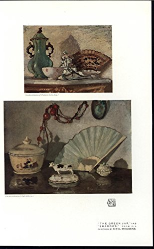 (Green Jar Shadows Beautiful Trinkets Pottery 1915 vintage historic color print )