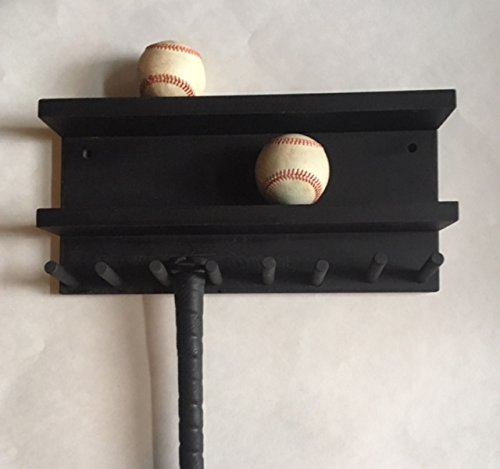 Baseball Bat Rack Holder Display Wall Mount Wood Black 7 Full Size Bats 8 Balls by MWC