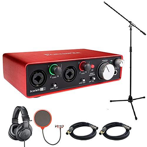 Focusrite Scarlett 2i2 USB Audio Interface (2nd Generation) With Pro Tools includes Bonus Audio-Technica Professional Monitor Headphones and More