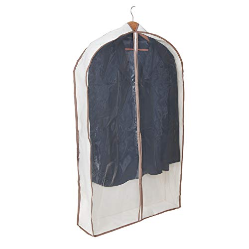 Smart Design Canvas Gusseted Suit Garment Bag w/ Cedar & Zipper - VentilAir Mesh Material - for Suits, Coats, Shirts, & Pants Storage Organization - (42 x 24 Inch) [Clear]