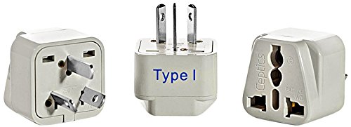 Ceptics China Travel Plug Adapter (Type I) - 3 Pack [Grounded & Universal]