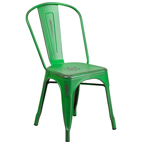 Flash Furniture Distressed Green Metal Indoor-Outdoor Stackable Chair