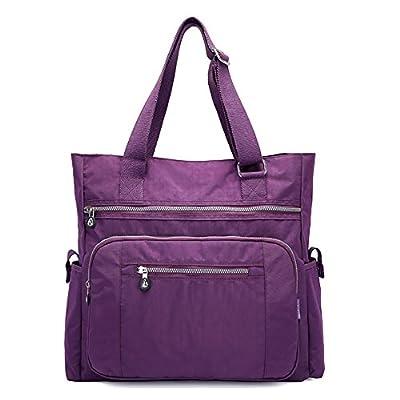 Mfeo Multi Pocket Womens Nylon Handbag Shoulder Bag Large Capacity Shopping Bag Tote Work Bag