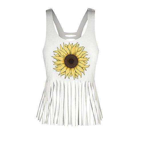 Lanruosi Women's Fringe Camis Top Sunflower Printing Scoop Neck Sleeveless Boho Tank Shirt (Fringe Cami)
