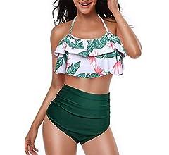 heekpek Conjunto de Bikini Mujer de Cintura Alta Traje de Baño de Dos Piezas Volantes Correas de Espagueti Bañador Plisado Estampado Rayas Ropa de ...