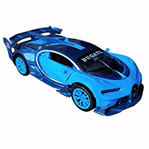 LMOY 1:32 Bugatti Chiron Vision Grand Turismo (GT) Zinc Alloy Pull Back Diecast Toy car Model Collection with Light & Sound (Blue)