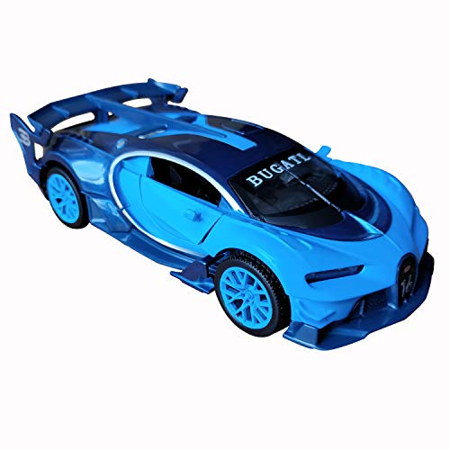 (LMOY 1:32 Scale Bugatti Chiron Vision Grand Turismo (GT) Zinc Alloy Pull Back Diecast Toy car Model Collection with Light & Sound (Blue))