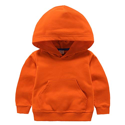 ALALIMINI Boys&Girls Hoodies Cotton Sweatshirt Pullover Sweats Unisex Toddler Kids Hood with Big Pocket 2T 3T 4 5 Orange 90CM/2T