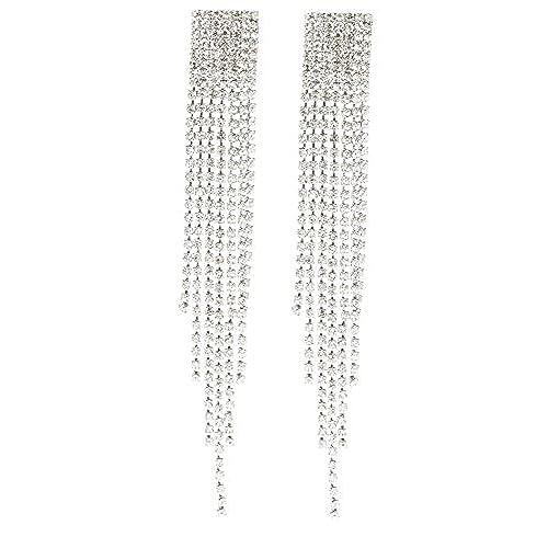 Clip on chandelier earrings amazon silvertone 45 inch chandelier with tassels and stones earrings e 1064 aloadofball Choice Image
