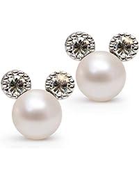 Pearl Stud Earrrings for Women,QANCI Rabbit/Bow/Heart/Mouse Shape Stainless Steel Earrings,Shell Pearl Women Jewelry Earrings