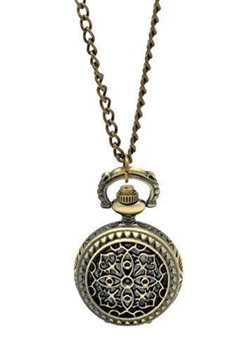 Souarts Antique Bronze Color Round Hollow Flower Pocket Watch