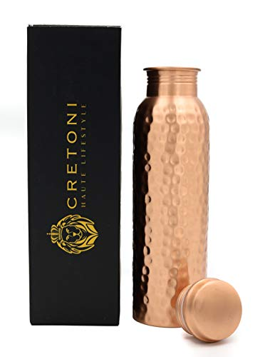 CRETONI Copperlin Pure Copper Water Bottle : Matte Hammered Seemless Leak Proof Design : Perfect Ayurvedic Copper Vessel for Sports, Fitness, Yoga, Natural Health Benefits (900 Milliliter/30 Ounce)