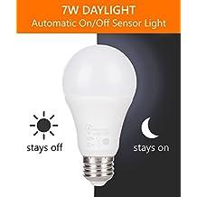LumenBasic LED Dusk to Dawn Bulb, 60 Watt Incandescent Equivalent, Outdoor Use, Daylight White E26 Non-Dimmable 360 degree sensor