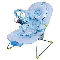 Silla mecedora de lujo reclinable, vibradora y musical para bebé, Con soporte para la cabeza (azul)