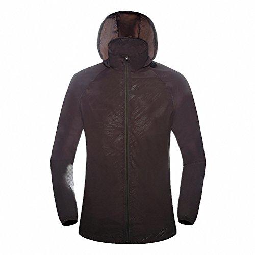 Maoko Sports Outdoor Running Windbreaker Jacket with Hood- Lightweight Sun UV Protection Dark Gray