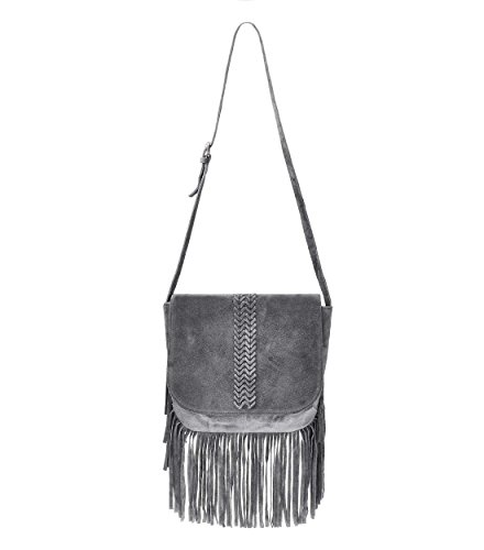 Bag Tassels Nubuck Bag ZLYC body Leather Shoulder Cross Women's Grey qfpxYa7