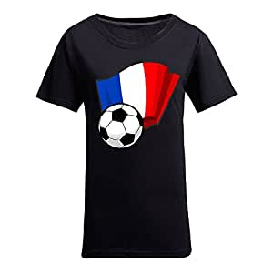 Custom Womens Cotton Short Sleeve Round Neck T-shirt with Flags,2014 Brazil FIFA World Cup Soccer Flags Black by Maris's Diary