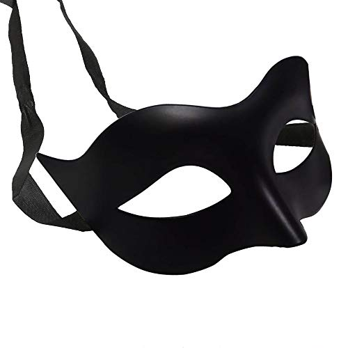 Cool Masquerade Masks (IDOXE Halloween Black Masquerade Masks Cool Men Adult Kids Fighter Half Face Venetian Mask for Zorro Masquerade Ball)