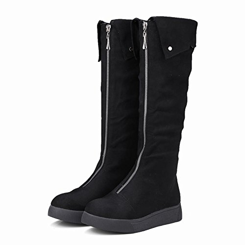 High New Zippers Boots Concise Carolbar Platform Knee Black Style Women's x0wfxq5HO