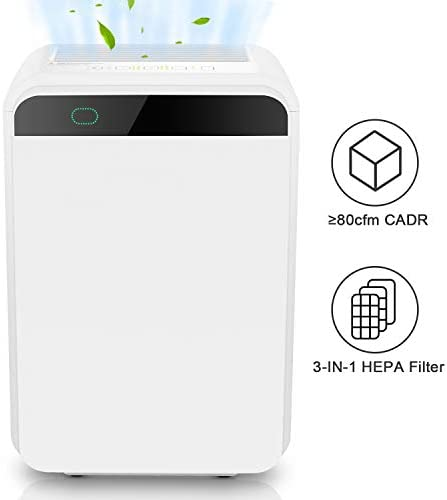 cacat Air Purifier, Air Cleaner with True HEPA Filter for Home, Smokers, Pets Hair, Moldd, Pollen, Dust, Quiet Odor Eliminators for Bedroom, 60W