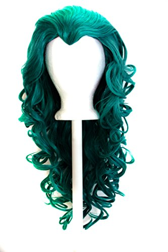 """25/"""" Curly Layered Cut with Widow/'s Peak and no Bangs Holly Green Wig Cosplay NEW"""