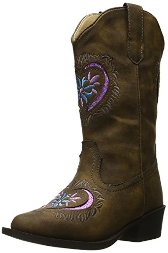 ROPER Girls' Daisy Heart Western Boot, Brown, 12 M US Little Kid