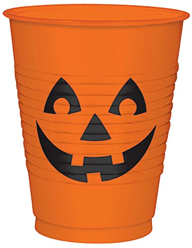 Pumpkin Plastic Cups, 16 oz.
