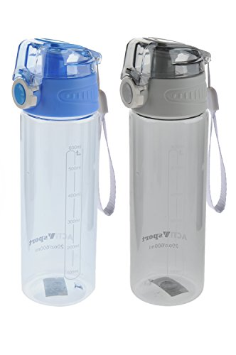 Sports Water Bottle 2-Pack Multi-Pack, 2 Colors, Eastman Tritan, BPA-Free, Leak-Proof, Easy Locking & Push Button Flip Top, 20oz (600mL), by Unity