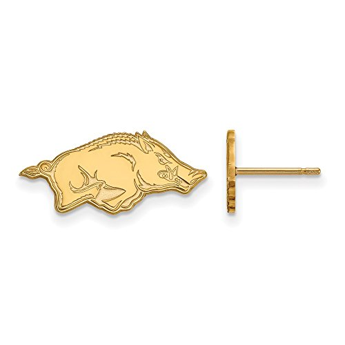 14k Yellow Gold LogoArt Official Licensed Collegiate University of Arkansas (UA) XS Post Earrings by LogoArt