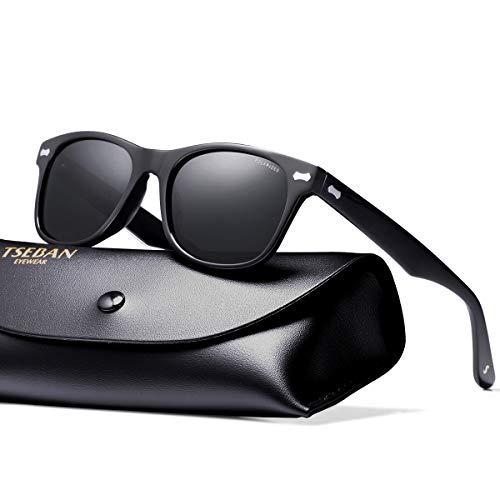 T.SEBAN Retro Polarized Sunglasses for Women Classic Vintage Designer Style Acetate Frame UV400 Protection ()