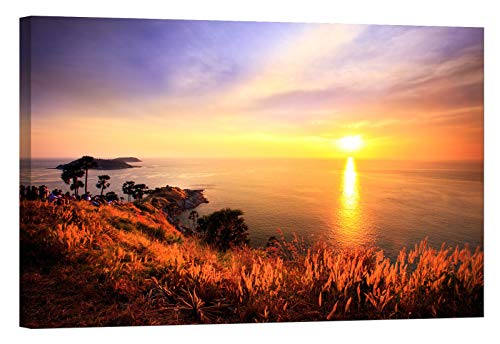 Wall Art for Living Room - Glow in The Dark Canvas Painting - Stretched and Framed Giclee Print - Phuket Thailand Phromthep Southern Twilight - Wall Decorations for Bedroom - 24 x 16 inch