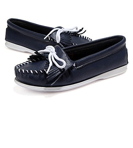 Super frist Women's Leather Slip Ons Loafers Flats Moccasins Driving Shoes Casual Walking Shoes Blue ()