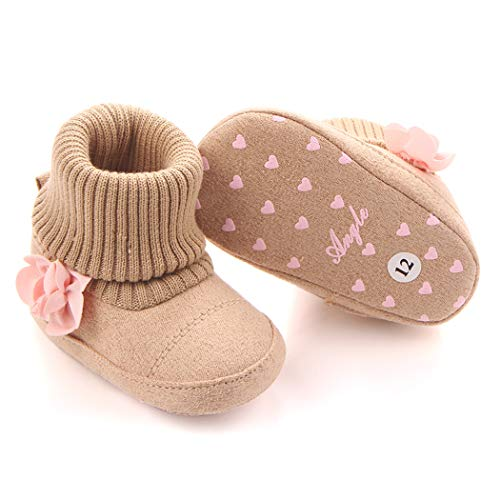 0003 Apricot - Togudot Baby Premium Soft Sole Anti-Slip Warm Infant Prewalker Toddler Boots Apricot