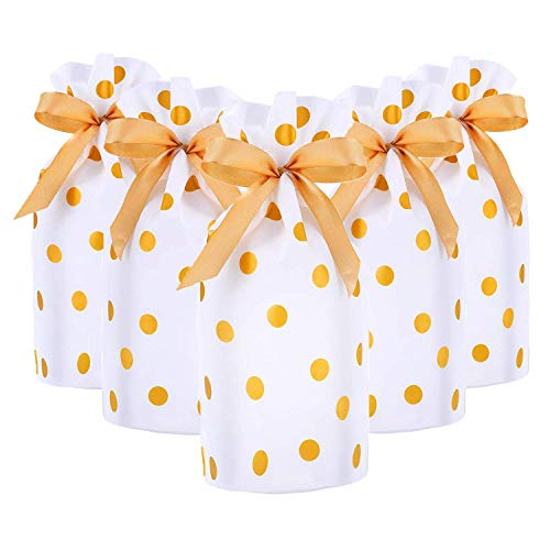 CCINEE 50pcs Drawstring Treat Bags Plastic Candy Pouch Gold Polka Dot Print Drawstring Plastic Christmas Favor Bags]()