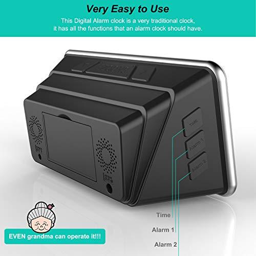 Digital Alarm Clock Bed Extra Alarm, USB Charger, –