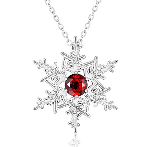 Sterling Silver Snowflake Pendant with Genuine Garnet, Blue Topaz & White Topaz including 18