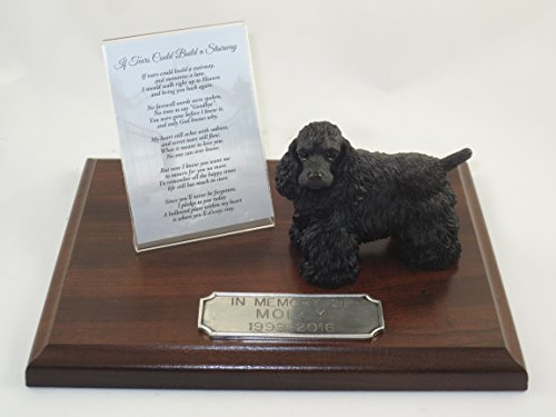 Beautiful Walnut Finished Personalized Memorial Plaque With Black Cocker Spaniel Figurine ()