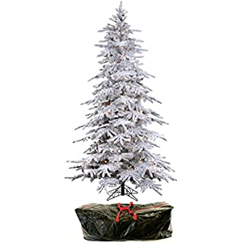 76 flocked bavarian pine artificial prelit white christmas tree clear lights - Real Looking Christmas Tree