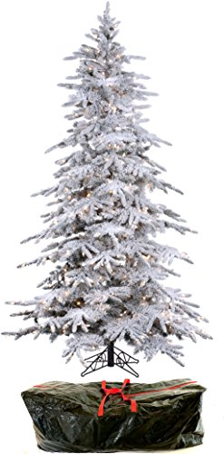 """7'6"""" Flocked Bavarian Pine, Artificial Prelit White Christmas Tree - Clear Lights Stay on if Bulb Burns Out! Natural Looking with Real-Like-Snow Color - Top Choice for Designers, Includes Storage Bag"""