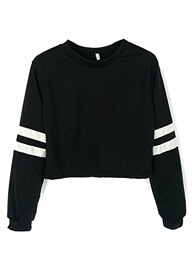 Joeoy Womens Striped Sleeve Sweatshirt