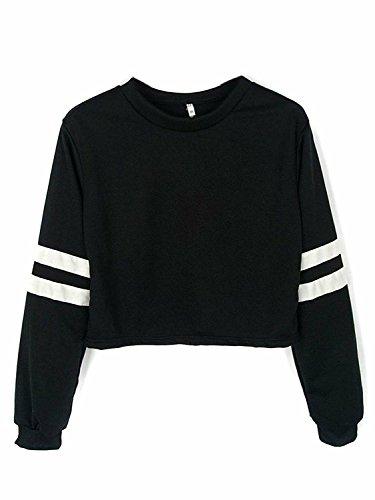 Joeoy Womens Striped Sleeve Sweatshirt product image