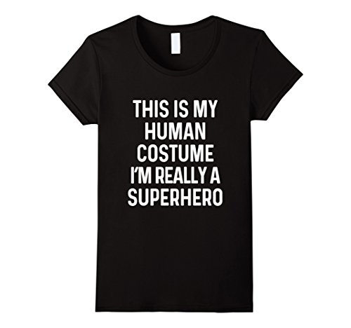 Womens Funny Superhero Costume Shirt Halloween Kids Adult Men Women XL Black (Superheroes Costume Ideas For Kids)