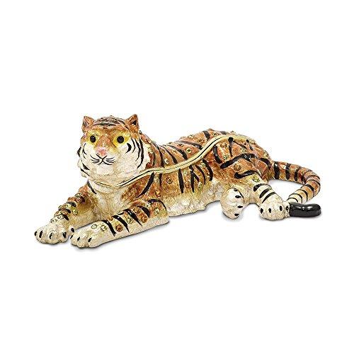Bejeweled Pewter Enamel Tiger Trinket Box
