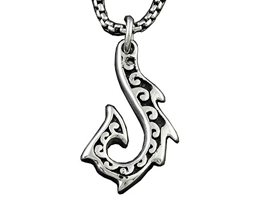 316L Stainless Steel Maori Fish Hook Tribal Tattoo Pendant Necklace + -