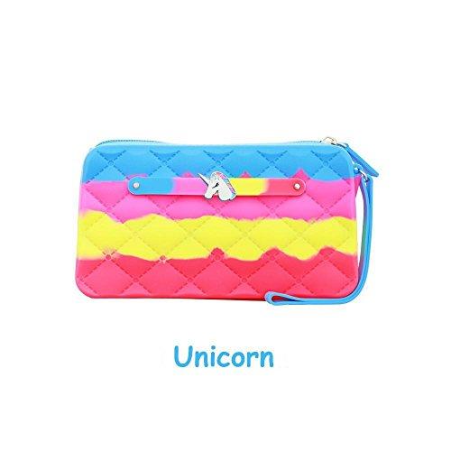 Scented Wristlet Purse - Yummy Gummy Silicone Clutch & Unicorn Jewel - Style: Unicorn Tie Dye - Pineapple Scent -Girls & Teen Accessories  - Dress-Up -
