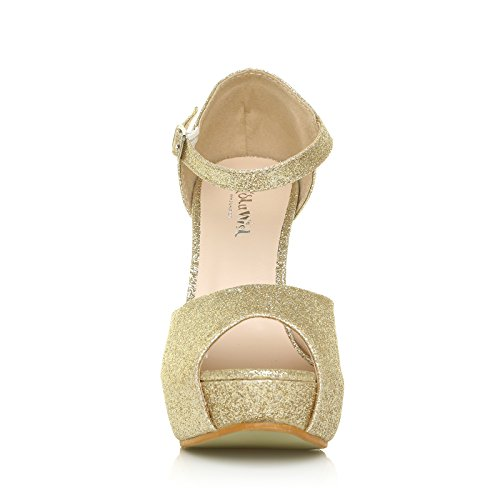 ShuWish UK London Champagne Gold Glitter Ankle Strap Platform Peep Toe High Heels 2lM2e8M