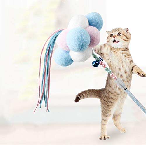 Celendi Pet Accessories,Interactive Play Funny Kitten Cat Teaser Wand Toy Stick Feather Pet Supply (C) ()