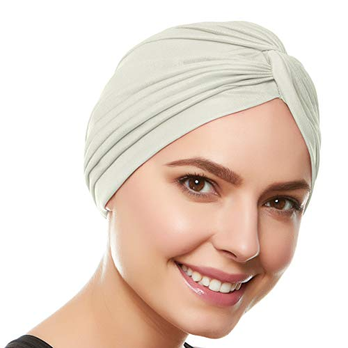 - Beemo Polyester Twisted Pleated Turban Head Cover - Ivory