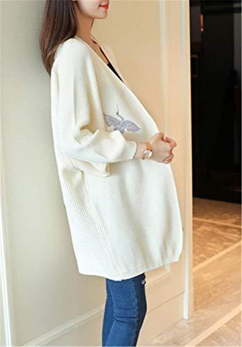 Plus Ricamo Manica Elegante Prodotto Lunga Autunno Giovane Cardigan Cappotto A Outerwear Casuale Maglia Pipistrello Donna Moda Primaverile Bianca Allentato Giacca FxZOqaT
