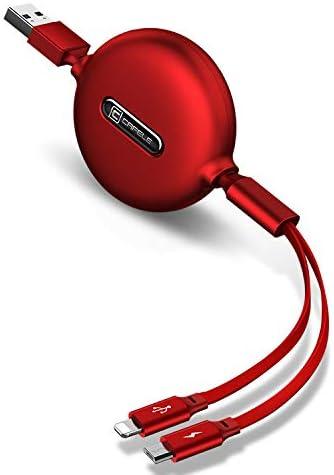 CAFELE Qing 2 en 1 Micro USB retráctil cable de carga compatible con iPhone XR/XS/XS MAX/ 8Plus/8/7Plus, Honor 8, Xiaomi, etc., 1,2 metros (rojo)